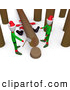 Humorous Clip Art of a Sad Santa Squished Under a Tree Trunk While Two Elves Try to Chop down Trees by 3poD