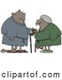 Humorous Clip Art of a Saggy Old African American Couple Wearing Robes, Using Canes and Looking at Each Other by Djart