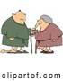 Humorous Clip Art of a Saggy Old White Couple Wearing Robes, Using Canes by Djart