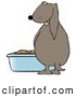Humorous Clip Art of a Silly Brown Dog Pissing in a Litter Box by Djart