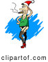 Humorous Clip Art of a Silly White Man Wearing a Santa Hat, Green Tank Top, Fishnet Stockings, Panties and High Heels, Posing and Smoking a Cigar by Holger Bogen
