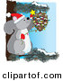 Humorous Clip Art of a Smiling Cute Gray Squirrel Wearing a Santa Hat and Mittens, Sitting on a Pine Tree Branch and Decorating a Pinecone with Christmas Lights and a Star by Maria Bell