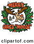 Humorous Clip Art of a Smiling Reindeer with a Red Nose Tied on in the Center of a Christmas Wreath with Text Reading Merry Chris Moose by Andy Nortnik