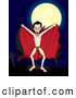 Humorous Clip Art of a Spooky Count Dracula in the Nude, Wearing Bat Underwear, Holding His Cape Open and Standing in a Cemetery on a Full Moon by Paulo Resende