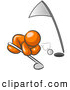 Humorous Clip Art of a Sporty Orange Man down on the Ground, Trying to Blow a Golf Ball into the Hole by Leo Blanchette