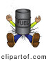 Humorous Clip Art of a Squashed Man Lying Flat, Crushed into the Ground Under a Barrel of Fuel by Paulo Resende