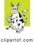 Humorous Clip Art of a Thirsty Black and White Dairy Cow Drinking Milk from a Carton Through a Straw by Paulo Resende
