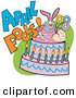 Humorous Clip Art of a Tough Man in a Pink Bunny Suit Holding Flowers and Popping out of an April Fools Cake on White by Andy Nortnik