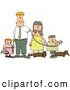 Humorous Clip Art of a White Man and Woman Walking Their Dachshund Dogs and Children on Leashes by Djart