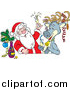 Humorous Clip Art of Celebrating Santa and Reindeer Getting Drunk - Cartoon Design by Alex Bannykh