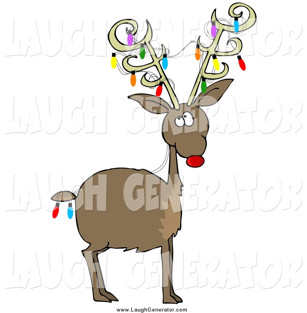 humorous clip art of a rudolph the red nosed reindeer with colorful christmas lights on his