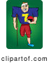 Humorous Clip Art of a Banged up Grinning Injured Football Player with Missing Teeth, a Bandage on His Head and an Injured Leg, Carrying His Helmet and Leaning on a Crutch by Paulo Resende